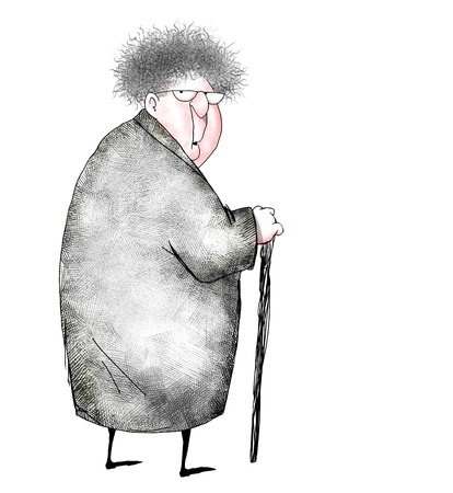 frizzy: Cartoon of an old lady looking over her shoulder in surprise