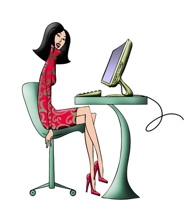 Color illustration of a fashionable young woman seated at her computer Фото со стока