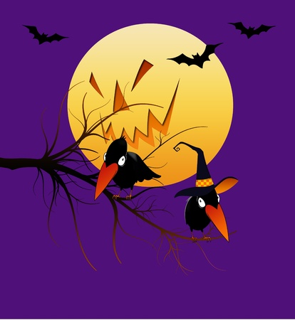 witch face: Halloween cartoon crows with jack-o-lantern moon