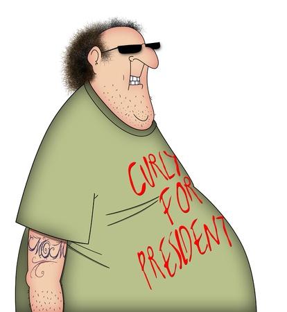 代表取締役社長の 3 人の引立て役のカーリーと政治的な t シャツのずさんな男の面白い漫画