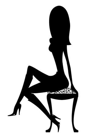 Silhouet van een sexy meisje in laarzen neergestreken op een luipaard kruk Stockfoto