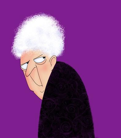 Grappig beeldverhaal van een chagrijnige oude dame kijkt over haar schouder