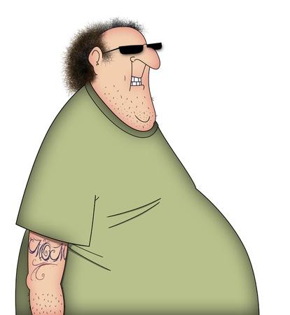 Grappige cartoon van een slordige man in T-shirt