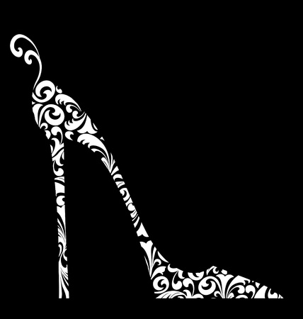 Cute fashion illustration of a high-heeled shoe with curlicues on black