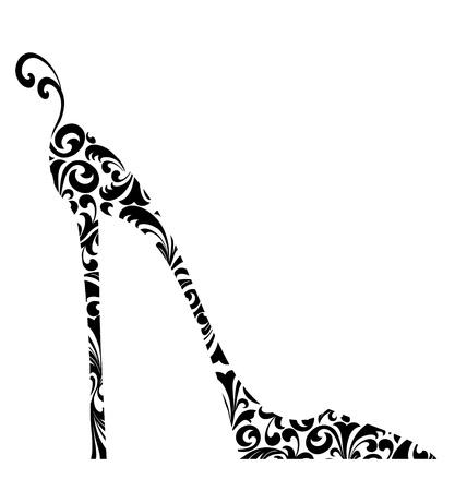 tacones negros: Ilustración de moda retro lindo de un zapato de tacón alto con curlicues