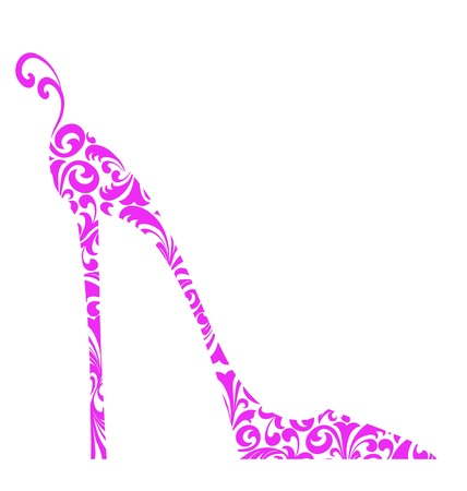 Cute retro fashion illustration of a pink high-heeled shoe with curlicues