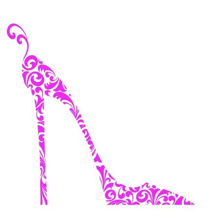 Leuke retro mode-illustratie van een roze hoge hakken schoen met krullen Stockfoto