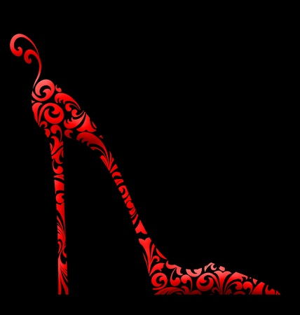 Cute fashion illustration of a red high-heeled shoe with curlicues on black