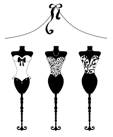 Cute fashion illustration of three dress forms with bustiers in black and white illustration