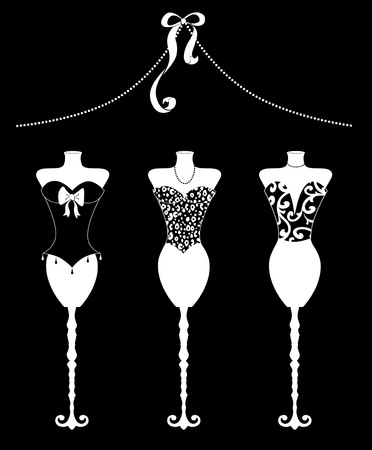 Cute fashion illustration of three dress forms with bustiers White on Black illustration