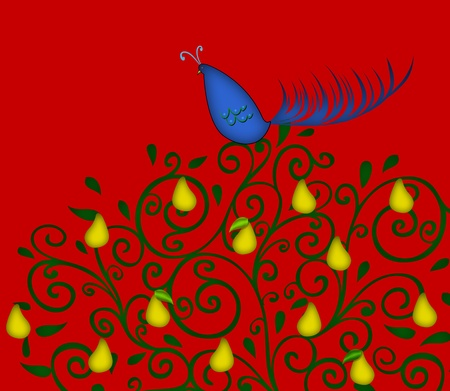 Christmas illustration of a colorful partridge in a pear tree on a red background Stock Photo