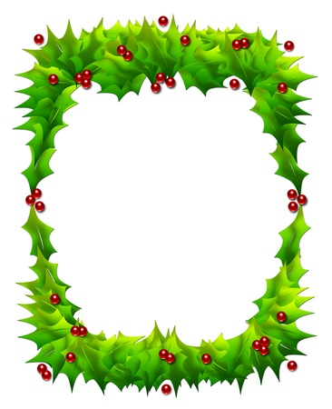 Cheerful Christmas frame or border of holly leaves and berries isolated on white