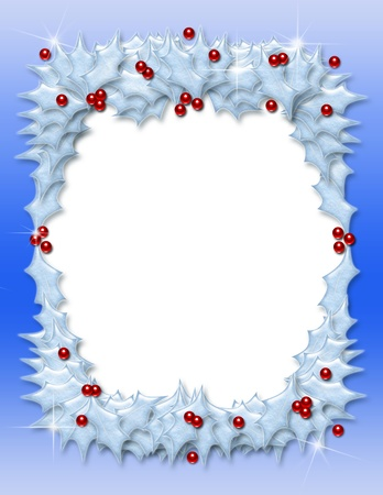 Christmas border or frame of snow-covered holly leaves and berries photo