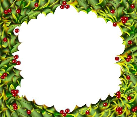 Joyeux Noël ou frame frontière de feuilles de houx panaché et baies Banque d'images - 10456243