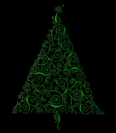 curlicues: Retro Christmas tree of green curlicues on a black background Stock Photo