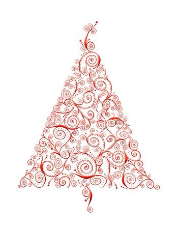 白で隔離される赤い渦巻きのレトロなクリスマス ツリー