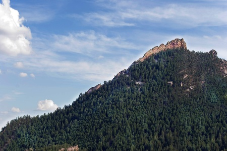 Scenic view of the Flatiron Mountains in Boulder, Colorado photo