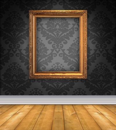 grey: Elegant, moody room with black damask wallpaper and ornate empty picture frame Stock Photo