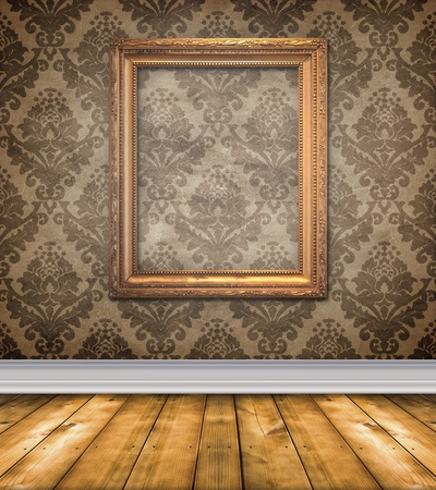 Elegant, moody room with brown damask wallpaper and ornate empty picture frame Stock Photo - 12726398