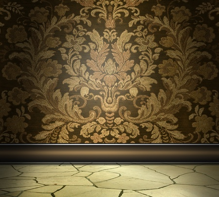 Rich Damask Wall With Flagstone Floor