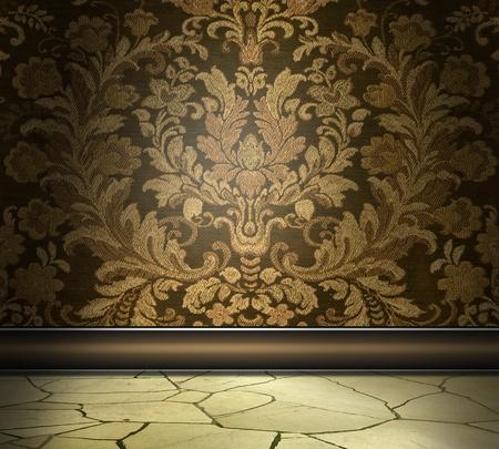 Rich Damast Muur Met plavuizen vloer Stockfoto