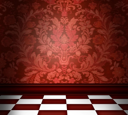 Room with red damask wallpaper and a red checkerboard floor photo