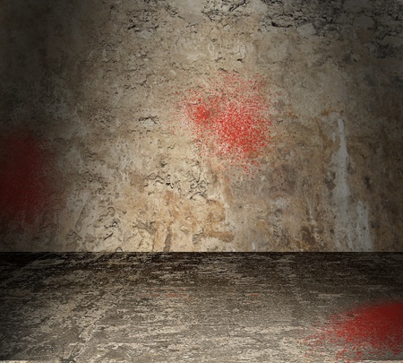 Torture chamber with bloodstained walls photo