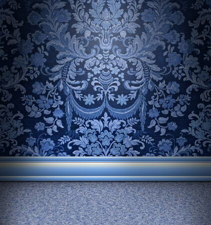 Beautiful blue damask room with light blue carpet
