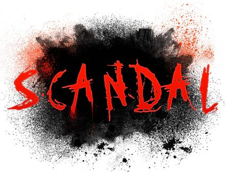 Typography illustration of the word scandal with grungy spatter Stockfoto