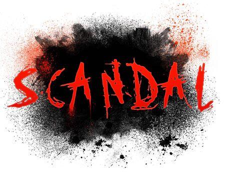 Typographie illustration du scandale mot avec projections grungy