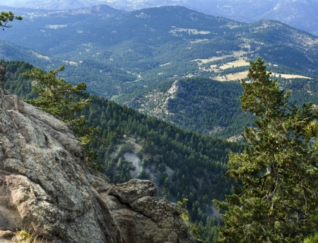Scenic view of the foothills of the Flatiron Mountains in Boulder, Colorado photo