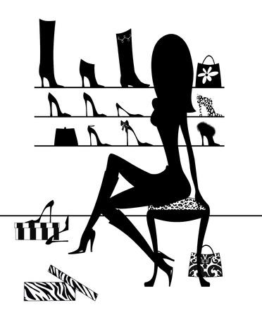 Mode-illustratie van het silhouet van een meisje probeert op laarzen en schoenen