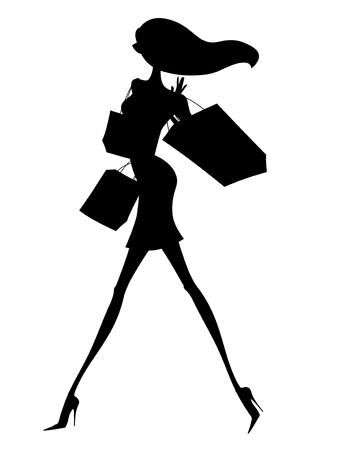 Silhouette of a chic young woman with shopping bags
