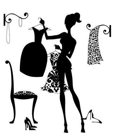 Silhouet mode illustratie van een meisje in haar boudoir het kiezen van een outfit
