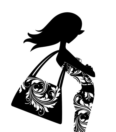 Silhouette of a chic young woman with a large handbag posing in profile