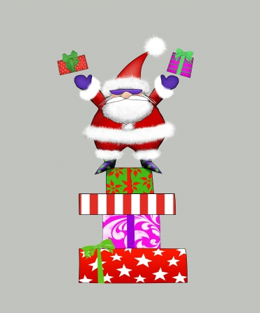 edgy: Edgy Santa Claus standing on a stack of presents tossing gifts into the air Stock Photo
