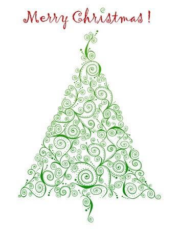 curlicue: Chrismas greetings with retro curlicue Christmas tree