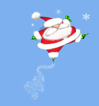 Cartoon of a fa Santa Claus leaping in the air Stock Photo