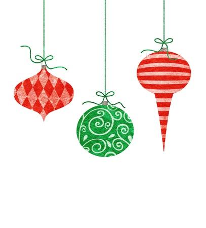 Three cute retro Christmas ornaments hanging by green string