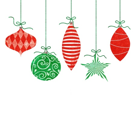 Five cute retro Christmas ornaments hanging by green string