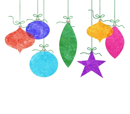 Seven cute retro Christmas ornaments hanging by green string