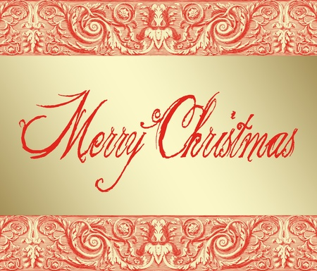 Merry Christmas in red traditional lettering on a gold background with baroque ornamentation
