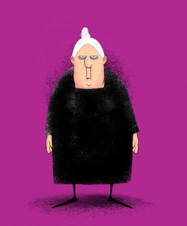 hefty: Humorous illustration of a cranky peevish old lady in a black dress