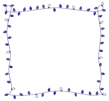 Frame of festive blue holiday lights