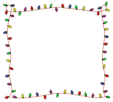 Colorful Christmas frame of multicolored lights