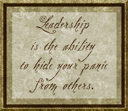 Wise saying about leadership in calligraphy on parchment