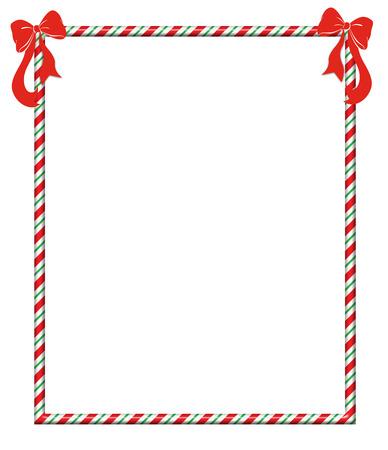 Bonbons cadre de la canne avec des arcs rouges de fête Banque d'images - 23647216