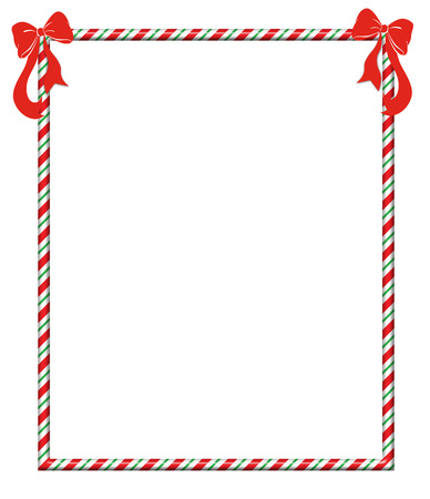 Candy cane frame with festive red bows