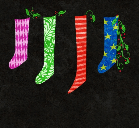 trimmings: Whimsical illustration of colorful Christmas stockings and holly
