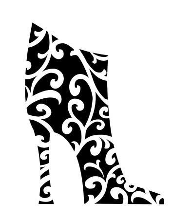 chic: Chic Black fashion boot with white swirls